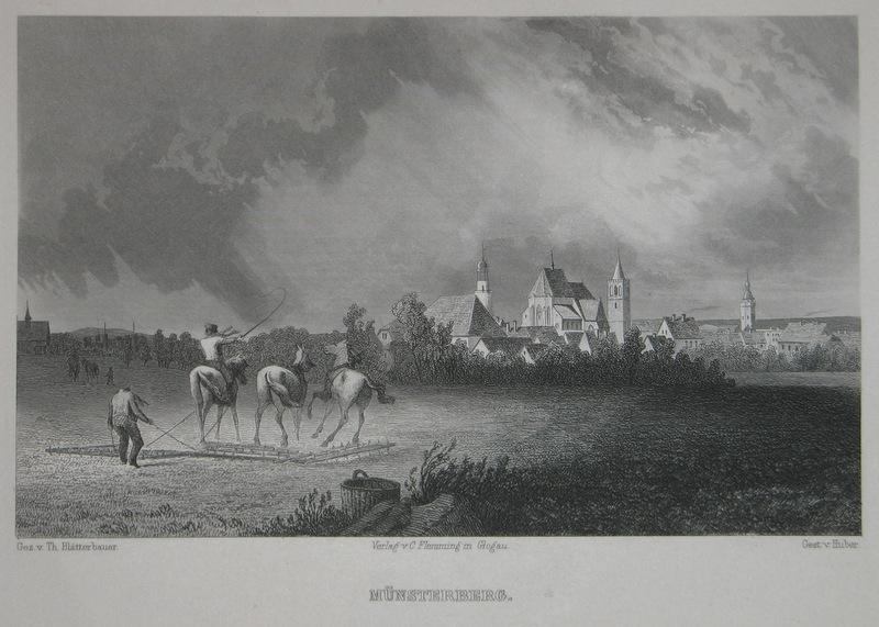 Stahlstich-Gesamtansicht von Huber nach Blätterbauer. Münsterberg.: Schlesien, Münsterberg, Ziebice