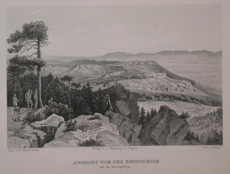 Stahlstich-Gesamtansicht von Huber nach Blätterbauerder. Aussicht von: Schlesien, Heuscheuergebirge, Gory