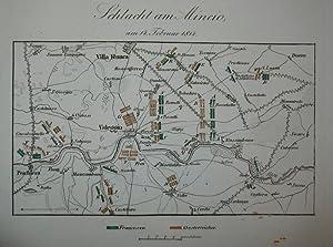 Kolorierter Kupferstich-Plan. Schlacht am Mincio, am 14.: Valeggio sul Mincio,