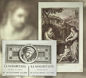 1 grosse Kupferstich-Tafel + 1 Textblatt mit kleinerem Kupferstich. La Samaritana pittura in legno ...