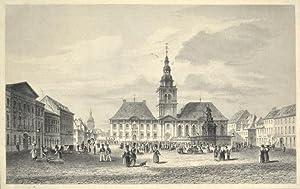 Stahlstich-Ansicht. Mannheim, Marktplatz.: Mannheim, Marktplatz mit Rathaus und Brunnen -: