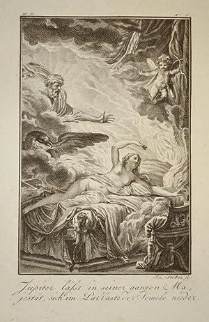 Kupferstich von J. Stöber. Jupiter lässt in: Ovid, Metamorphosen, Jupiter