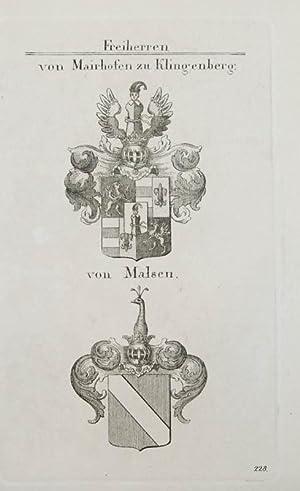 Kupferstich von Tyroff mit 2 Wappen auf: Wappen, Freiherren. Von