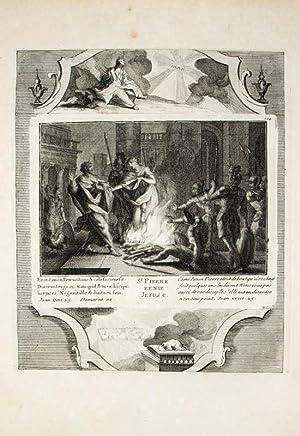 Kupferstich von Demarne aus einer Bilderbibel. Joan.: Bibel, Biblia, Verleugnung