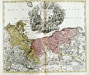Kolorierte Kupferstich-Landkarte von Homann. Ducatus Pomeraniae novißima tabula.: Pommern, ...