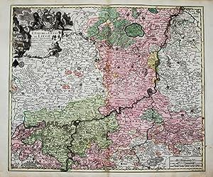 Kolorierte Kupferstich-Landkarte von Lotter. L'eveche et l'etat: Belgien, Belgie, Belgique,