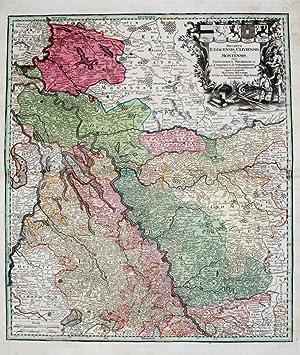 Kolorierte Kupferstich-Landkarte von Seutter. Ducatus Iuliacensis Cliviensis et Montensis.: ...