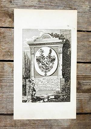 Kupferstich-Wappen. Cajetan Albert Graf und Herr von: Wappen, Michaelsorden -
