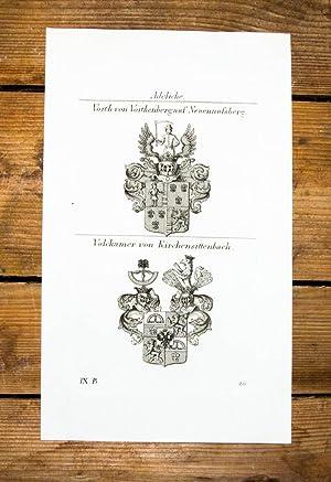 Kupferstich von Tyroff mit 2 Wappen auf: Wappen, Adelige, Voith