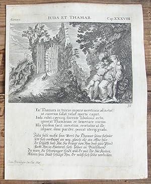 Kupferstich von Küsel. Genes. Iuda et Thamar.: Bibel, Biblia, Juda
