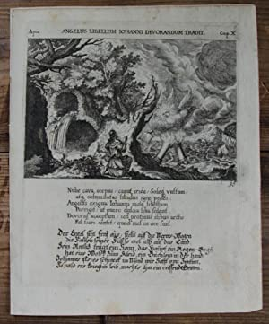 Kupferstich von Küsel. Apoc. Angelus libellum Iohanni: Bibel, Biblia, Apokalypse,