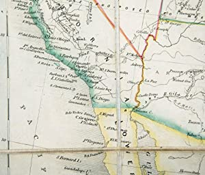Engraved coloured map. The United States and...