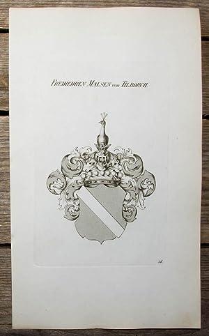 Kupferstich-Wappen von Tyroff. Freiherren Malsen von Tilborch.: Wappen, Malsen von