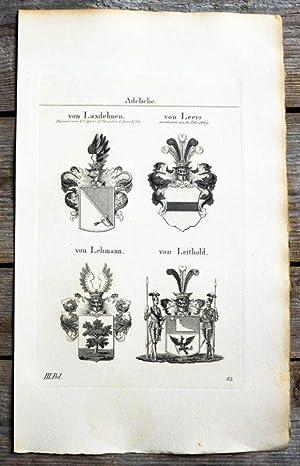 Kupferstich von Tyroff mit 4 Wappen und: Wappen, von Laxdehnen,