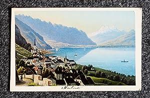 Kolorierte Aquatinta-Ansicht.: Montreux, Genfer See,