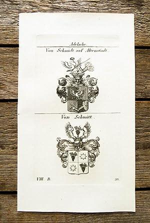 Kupferstich von Tyroff mit 2 Wappen auf: Wappen, Adelige. Schmidt