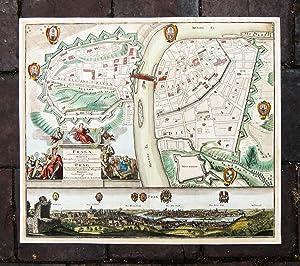 Kolorierter Stadtplan mit Gesamtansicht von Seutter. Praga: Prag, Praha, Stadtplan