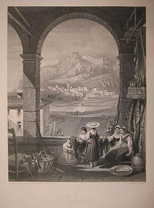 Stahlstich-Gesamtansicht von J. B. Allen nach W.: Radicofani in der