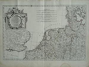 Grenzkolorierte Kupferstich-Karte von J.A.B. Rizzi Zannoni. Dédiée: Niederlande, Belgien, Friesland