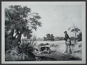 Lithographie von Delaporte nach H. Vander Burch,: Jagd, Jagdhund, Hasenjagd,