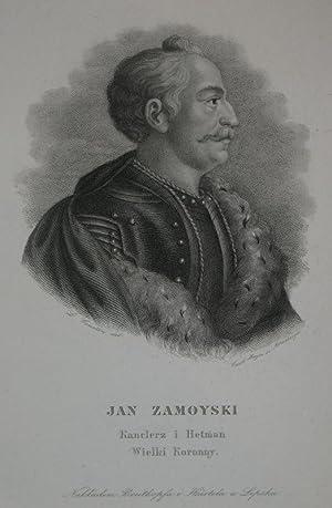 Stahlstich-Porträt von Mayer nach Courtin. Jan Zamoyski.: Zamoyski, Jan: