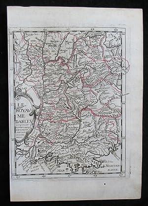 Grenzkolorierte Kupferstich-Landkarte von Philippe Briet. Le Royaume: France, Lyon, Lac