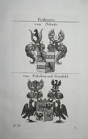 Kupferstich mit 2 Wappen auf einem Blatt.: Wappen Freiherren von