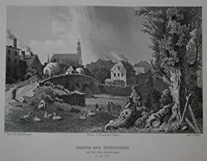 Stahlstich-Gesamtansicht von Huber nach Blätterbauer. Partie aus: Schlesien, Hirschberg, Jelenia