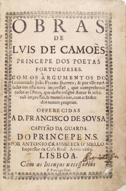Obras de Luís de Camões, princepe dos poetas portugueses, com os argumentos do ...