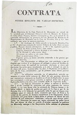 Contrata sobre estanco de varias especies. [text begins:] Los Directores de la Caja Nacional de ...
