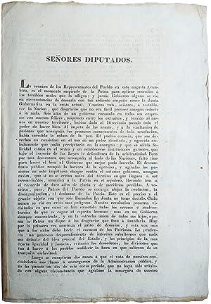 Señores Diputados. [text begins:] La reunion de: EYZAGUIRRE, Agustin de,
