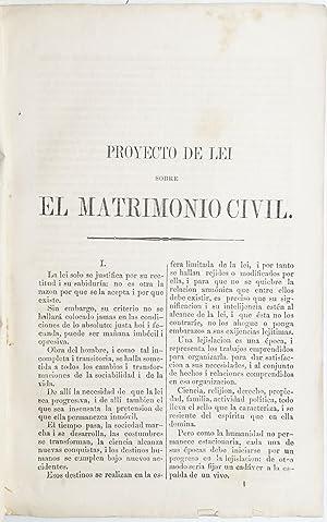 Proyecto de lei sobre el matrimonio civil.: CLARO, Ricardo].