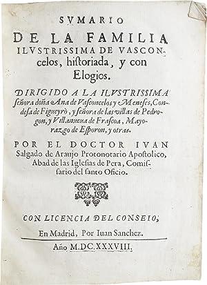 Sumario de la familia ilustrissima de Vasconcelos,: ARAUJO, Juan [i.e.,