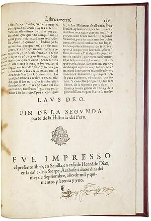 Primera, y segunda parte de la Historia del Peru . contiene la primera, lo succedido en la Nueva ...