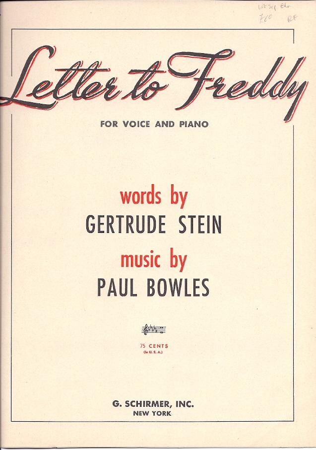 sheet music] Letter to Freddy  For voice and