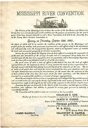 Printed handbill, with illustration, headed 'Mississippi River: James Handly, Secretary;
