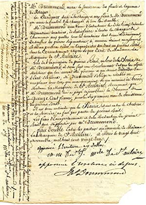 Legal agreement, in French, between Drummond and the Marquise de St. Aulaire, for the leasing by ...