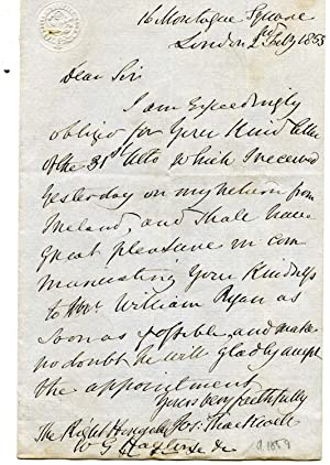 Autograph Letter Signed ('Jos: Thackwell') to Hayter.: Sir Joseph Thackwell (1781-1859), ...