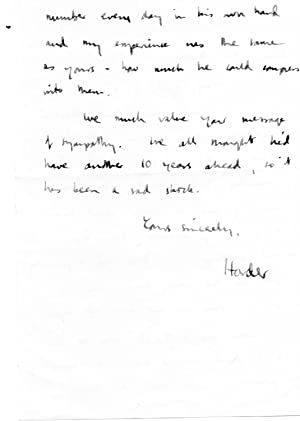 Autograph Note Signed ('Horder') to Noon, on his father's death.: Mervyn Horder (...