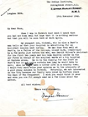 Typed Letter Signed ('Douglas Harmer') to Noon.: William Douglas Harmer (1873-1962), ...