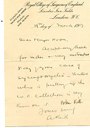 Two Autograph Letters Signed (both 'A Keith') to 'Major Noon'.: Sir Arthur ...