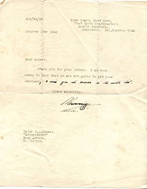 Typed Note Signed ('S Brownrigg') to Major F. C. Rogers.: Rear-Admiral Henry John ...