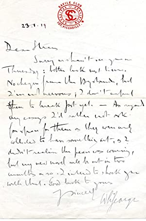 Autograph Letter Signed ('W L George') from the novelist Walter Lionel George to the ...
