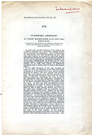 Offprint titled 'Pulmonary Amoebiasis.': Philip Manson-Bahr, D.S.O.,