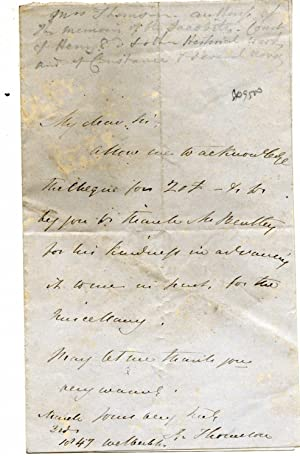 "Autograph Letter Signed to ""K.Thomson"" [Edward Morgan of Richard Bentley & Son]: ..."