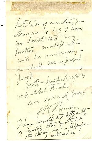 Autograph Letter Signed ('A. C. Benson') to 'Sir John'.: A. C. Benson [Arthur ...