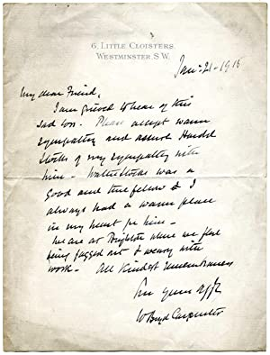 Two Autograph Letters Signed (both 'W Boyd Carpenter'), the first to Walter F. Stocks and...