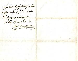 Autograph Letter Signed ('Chas Landseer') to [Walter F. Stocks].: Charles Landseer (1799-...