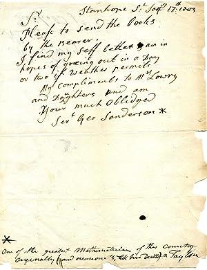 Autograph Letter Signed ('Geo Sanderson') to Lowry.: George Sanderson (c.1835-1814), ...