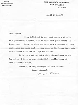 Two Autograph Letters Signed and one Typed Letter Signed (all three 'H A L Fisher') to &#...